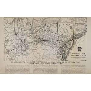 Railroad System Train Routes   Original Print Map