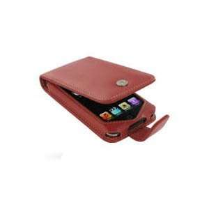 Apple iPod Touch Leather Flip Type Case (Red) Cell Phones