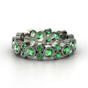 Hopscotch Eternity Band, 14K White Gold Ring with Emerald