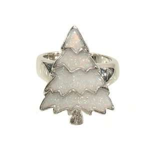 Snow Covered Christmas Tree Fashion Ring Done in Silvertone With