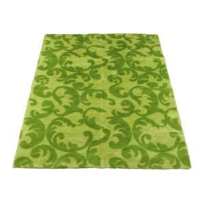 Kiwi Lime Flourish Abstract  Faux Fur Rug  5 foot X 7
