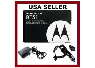 OEM BATTERY+CAR+HOME CHARGER MOTOROLA BT51 V360
