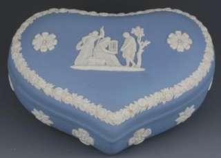 1956 WEDGWOOD LIGHT BLUE JASPERWARE HEART SHAPED TRINKET BOX
