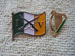 1916 Crossed Rifles & Irish Harp Irish Republican (2) Pin Set