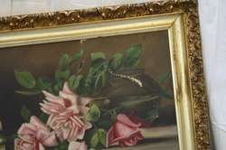 Painting Fresh Cut Pink Long Stem Roses Still Life Gilt Frame Signed