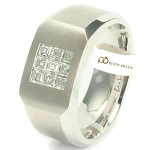 34ct VVS E F 14K White Gold High End Mens Diamond Wedding Ring 11