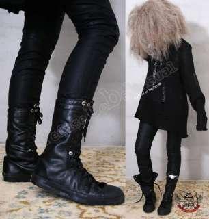 Unisex Punk emo Rock Faux Leather Like Vegan Calf Flip Collar Sneaker
