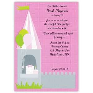 Girl Baby Shower Invitations   Pink and Green Princess Invitation