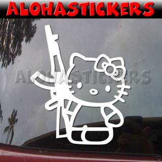 HELLO KITTY AK47 GUN Vinyl Decal Car Window Sticker A53