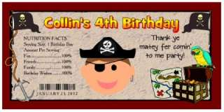 20 PIRATE BIRTHDAY PARTY FAVORS ~ WATER BOTTLE LABELS