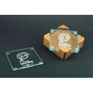 Miami Dolphins Glass Coaster Set with Alder Wood Holder