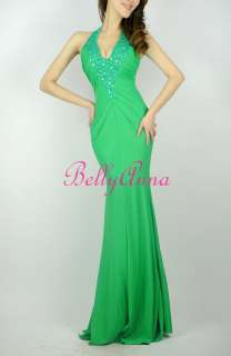 Neck Prom Party Evening Gown Fitted Bridesmaid Long Maxi Dress