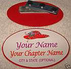 RED HAT hi society (Personalized) name badge / tag #134