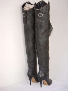 RARE VINTAGE WILD PAIR FRINGE BLACK LEATHER THIGH HIGH BOOTS 9