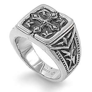 Stainless Steel 16mm Antique Cross Mens Ring (Size 9   12