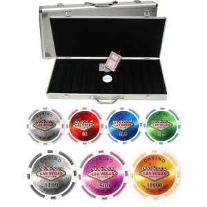 LAS Vegas Casino Laser 500 Chip 14gm Clay Poker Set   With
