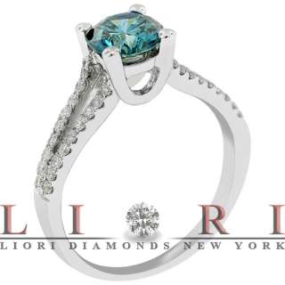 71 CARAT FANCY BLUE NATURAL DIAMOND ENGAGEMENT RING 14K WHITE GOLD
