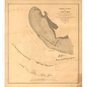 Civil War Map Order of attack on Fort Fisher by the Squadron under
