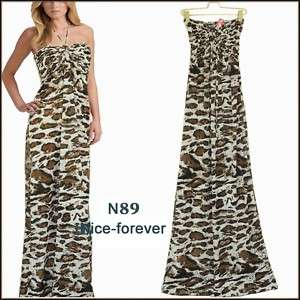 New open back halter coffee long maxi dress N89 SIZE S