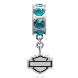 Harley Davidson® Sterling Silver Crystal Charm Ride Bead