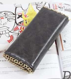 Women Lady Leather Studded Clutch Bag Long Flat Wallet