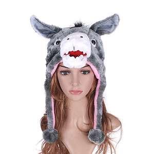 Cartoon Animal Grey Donkey Adult Plush Hat Cap H1407