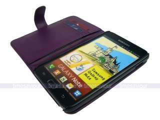 Purple Leather Case Cover for Samsung Galaxy Note with Inner Card Slot