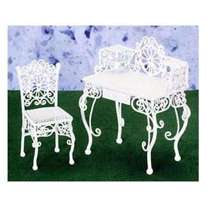 Dollhouse Miniature White Wire Writing Desk with Chair
