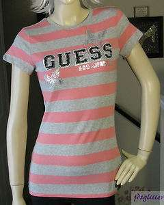 Butterfly Crystal Logo Coral Blossom Multi Crew Neck Tee NWT