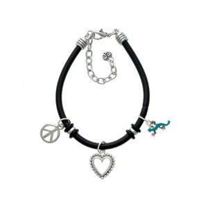Small Teal Lizard Black Peace Love Charm Bracelet [Jewelry