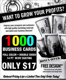 1000 CUSTOM FULL COLOR BUSINESS CARDS ✔ FREE DESIGN ✔ $17 *WOW