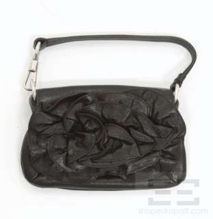 YSL Yves Saint Laurent Black Leather Rosette Small Handbag