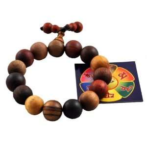 Tibetan Wood 12mm Elastic Cord Yoga Meditation Prayer Beads Wrist Mala