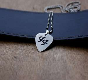 Hand Made Nickel Silver Foo Fighters Guitar Pick with Necklace
