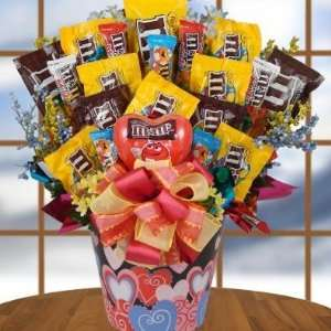 or PO BOX SHIPPING Lovin M&M Valentines Day Candy Bouquet Gift Basket