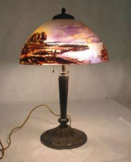 BEAUTIFUL C. 1910 PITTSBURGH REVERSE PAINTED LAMP