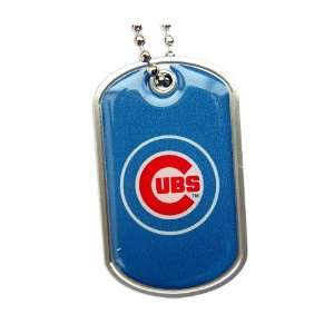 Chicago Cubs Dog Tag Domed Necklace Charm Chain Mlb