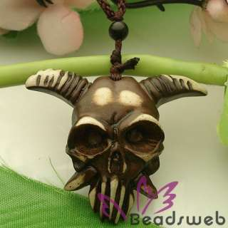 ibean Yak Bone Carving Goa Skull Necklace Pendan |