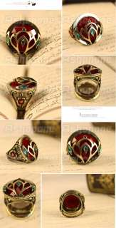 Classical Retro Vintage Bronze Big Red Stone Rhinestone Ring
