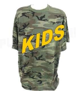 KIDS VINTAGE WOODLAND CAMO TEE MILITARY T SHIRT