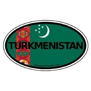 Turkmenistan Flag Car Bumper Sticker Decal Oval