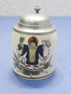 vtg Antique German lidded Beer Stein Sm 1/8th Liter