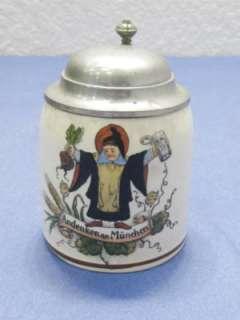 vtg Antique German lidded Beer Stein Sm 1/8th Liter |