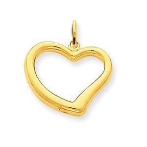 14k Gold Open Heart Charm: Jewelry