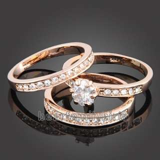 18K rose GOLD GP Swarovski crystal wedding ring 1517
