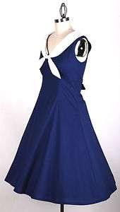 50s Vintage Navy Blue Size XS Sailor Dress Rockabilly Retro Pinup Prom