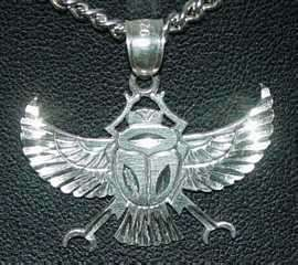 Egyptian Pendant Charm Sterling silver .925 SCARAB BEETLE Symbol Egypt