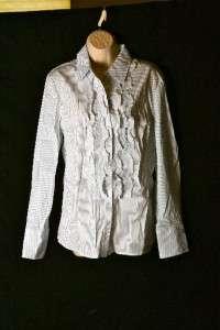 ELIE TAHARI JULIETE SHIRT WHITE POPLIN OXFORD BLOUSE STRIPED L XL