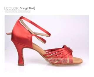 X31008 Heel Tan Satin Womens Classic Tango Ballroom Latin Salsa Dance