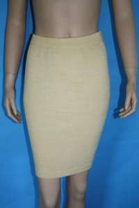 ST JOHN COLLECTION KNIT FITTED JACKET & SKIRT 2 PC SUIT LIGHT GOLD SZ